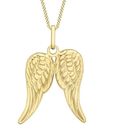 9ct Yellow Gold Double Angel Wing Pendant                                   8359